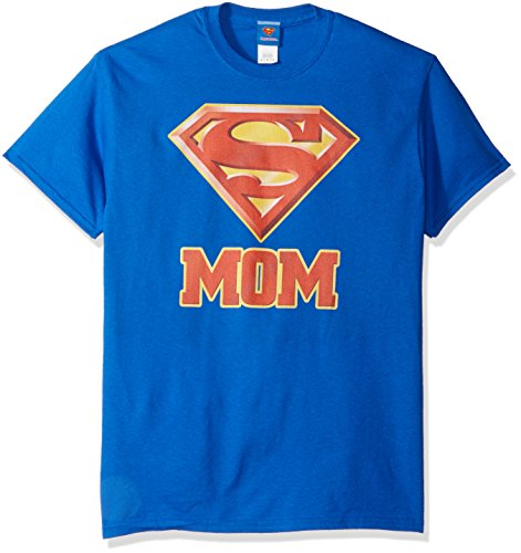DC Comics Men's Superman Short Sleeve T-Shirt, Mom Royal Blue, X-Large
