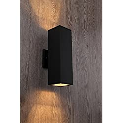Cerdeco 37858TZ Brandon 2-Light Outdoor Wall Lamp, Matte Black [UL Listed]