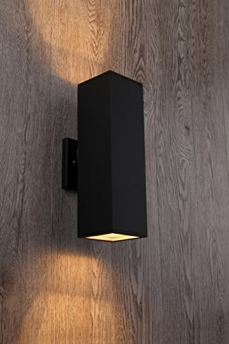 Cerdeco 37858TZ Brandon 2-Light Outdoor Wall Lamp, Matte Black [UL Listed] (Wall Lamp Contemporary)