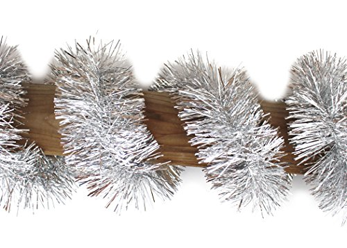 Emerald Craft & Hobby Premium Grade Metallic Garland, Thick Tinsel Garland Streamer, 4 Inches by 50 Feet (Silver)