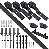 Yescom 6.6 FT Country Style Bypass Steel Sliding Barn Wood Door Hardware Roller Track Kit for Wood & Concrete Wall
