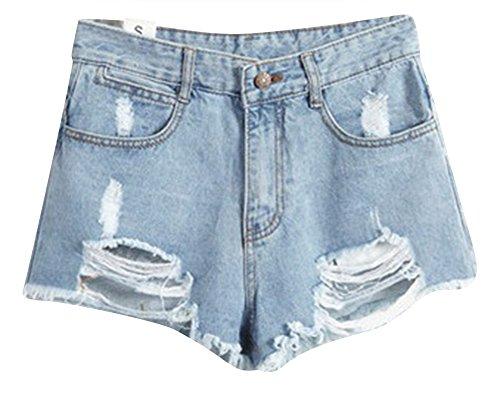 Pantaloncini Vintage Jeans Shorts Vita Donne Chiaro Holes Azzurro Pants Alta Denim Hot 0qdWa