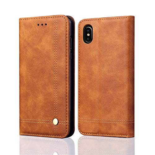 Price comparison product image Buybuybuy Apple iPhone XS Max Case, Leather Flip Case Protective Cover Shockproof Shatterproof Cover Slim Luxury Business Cover Wallet Cases Card Slot Holder Apple iPhone XS Max 6.5inch (Brown)