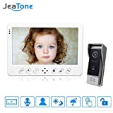 Jeatone Video Doorphone 4-Wires Video Intercom System 7-inch Color Monitor and HD Camera Video Doorbell Surface Mounted Outdoor Doorbell System