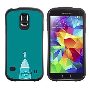 Suave TPU Caso Carcasa de Caucho Funda para Samsung Galaxy S5 SM-G900 / Shark Teal Fish Meaning Metaphor / STRONG