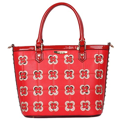 Top Handle [Red] Quilted Tote Bag with Spacious Main Compartment and Detachable/Adjustable Shoulder Strap