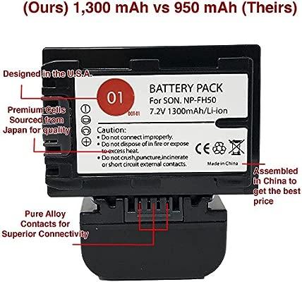 DOT-01-3 Pilas de Repuesto para Sony NP-FH50 y Cargador USB de ...