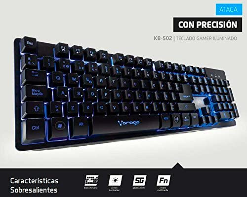 Vorago Keyboard502 Teclado Start The Game Alámbrico Metálico Multimedia Iluminado RGB USB, color Negro 4