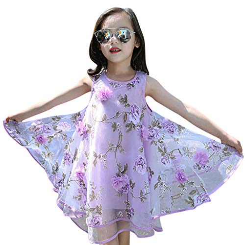 - Willow S Summer Baby Girls Kids Sleeveless Flower Princess Dress Pageant Wedding Party Evening Dress Purple