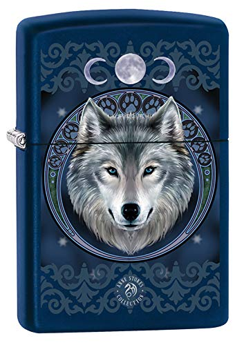 Zippo Lighter: Anne Stokes Wolf - Navy Matte -