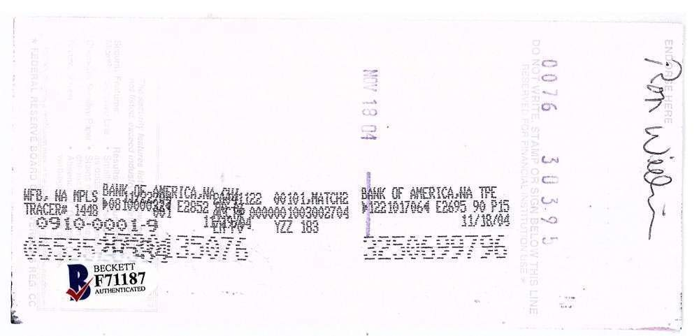Kirby Puckett Autographed Signed 2004 Hand Written Bank Check Beckett Bas