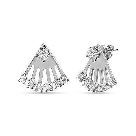 e90b3b950 Amazon.com: LeCalla Sterling Silver Jewelry Ear Jacket Back Lobe Trendy  Earring for Women: Home & Kitchen