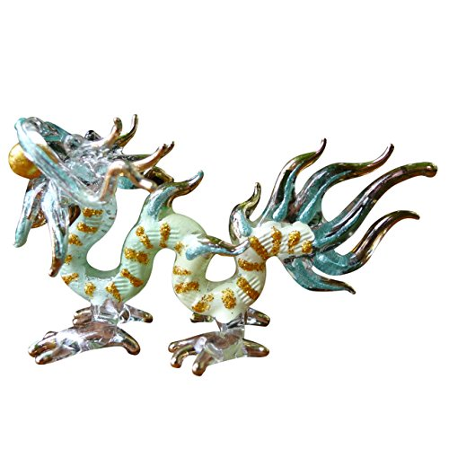 Sansukjai Dragon Figurines Animals Hand Painted Green Hand Blown Glass Art Gold Trim Collectible Gift Decorate