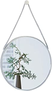 HUAXUE Bathroom Furniture/Bathroom Mirrors/Makeup Mir Round Rustic Metal Mirror with Hanging Strap for Wall, Industrial Home Décor, Unique for Living Room, Entryway, Hallway, and