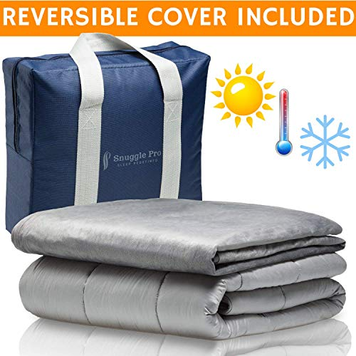 "Snuggle Pro Weighted Blanket Adult - 15 lbs Heavy Blanket for Sleeping, 60""x80"" Queen Size - Set with Cool Bamboo and Minky Reversible Cover & Pillowcase - Calming Blanket, Cooling Weighted Comforter"