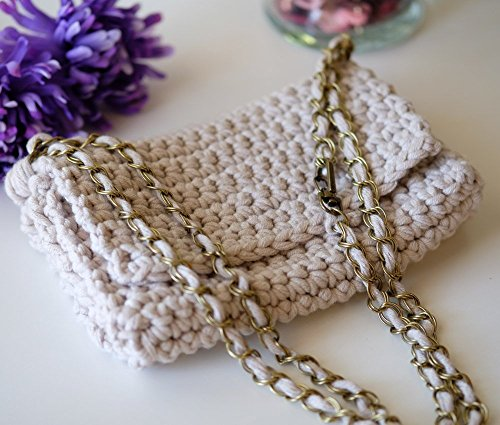 SMALL Off White Beige Crochet Clutch ()
