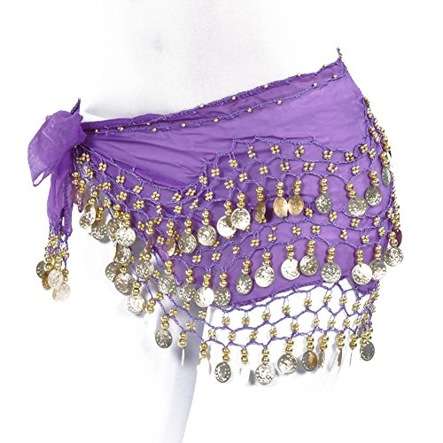 lilyy Chiffon Dangling Gold Coins Belly Dance Hip Skirt Scarf Wrap Belt (Dark Purple)