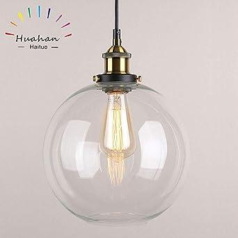 Huahan Haituo Lustre En Verre Transparent Lampe Suspendu Rond Retro
