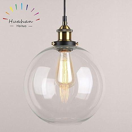 Huahan Haituo colgante luz Vintage Industrial Metal acabado cristal la bola de cristal redonda sombra Loft colgante Lámpara Retro Lamp Vintage luz de ...