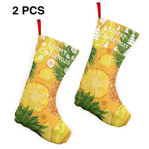 Sweet Custom Christmas Stockings Pineapple Yellow Art Personalized Christmas Decor Socks 2 Pcs Set ()