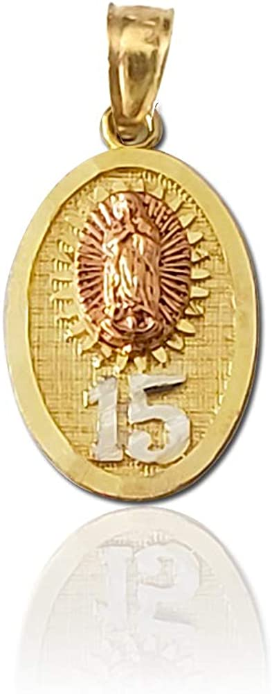 Win Jewelry 14K Gold Two Tone Mary of Guadalupe Pendant