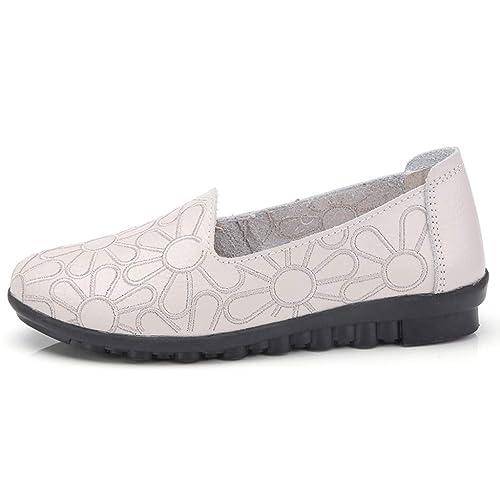 Zapatos de Mocasines sin Cordones con Bordados de Moda para Mujer Zapatos de Trabajo con Zapatos de Ocio Suaves: Amazon.es: Zapatos y complementos