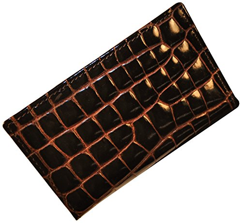 Budd Leather Croco Bidente Credit Card Case with 8 Slits, Brown