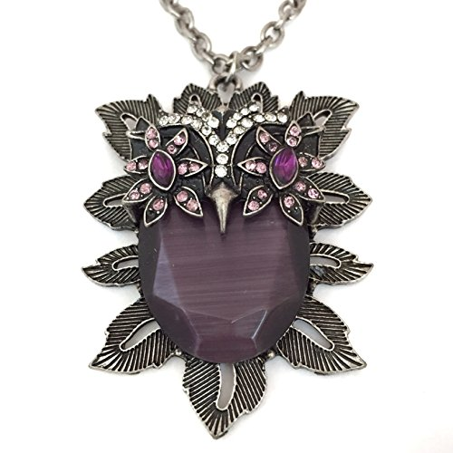 Long Purple Cat's Eye Like Stone Owl Rhinestone Eyes on Burnished Silver Tone Necklace