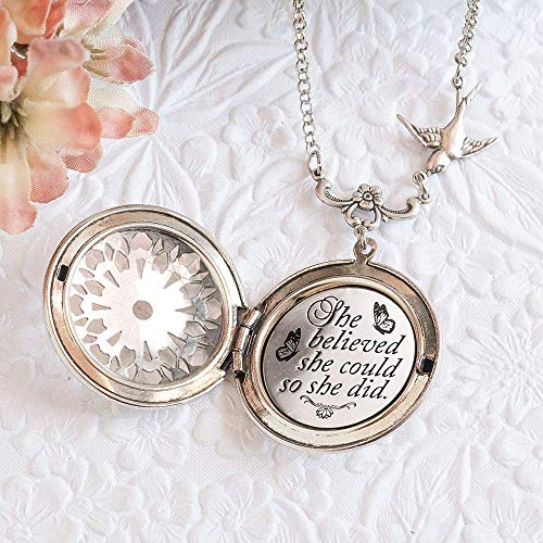 ''She believed she could so she did.'' Graduation Gift Quote Necklace and Silver Locket by Vinstyle Designs