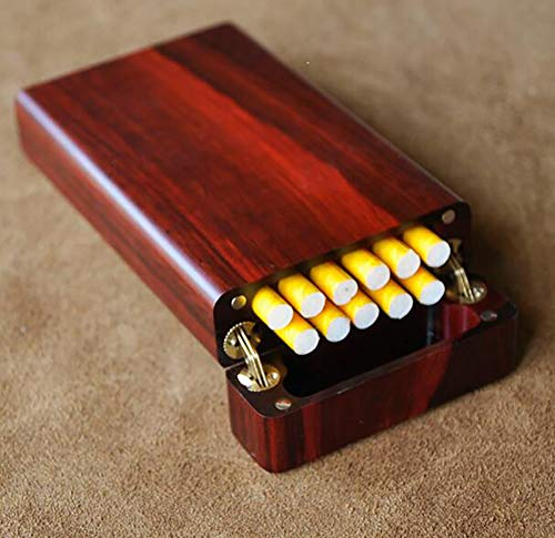 Cigarette Case Hand Made Rose Wood Natural logs Birthday Present Men and Women Cigarette Case Accommodates 11 Cigarettes (with Gift Box) by CSCR (Image #1)