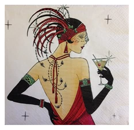 ART DECO CHIC COCKTAIL PARTY NAPKINS 3 PLY / TISSUE ~ 16 Per Pack ~ Ideal For: 18th / 21st / 40th / 50th / Birthday / Anniversary / Adults / Hor D'Oeuvres (1 Pack) MustBeBonkers
