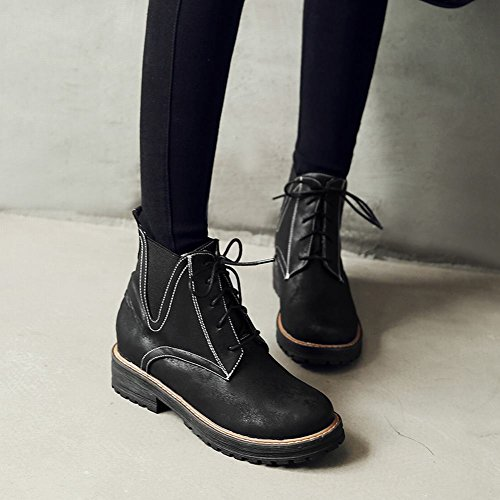 Charm Foot Womens Western Lace Up Low Heel Martin Ankle Boots Black VLcIva6