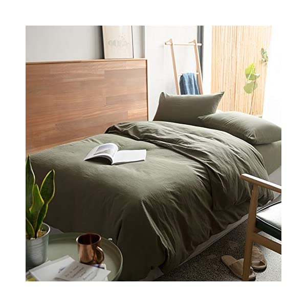mixinni Solid Color 3 Pieces Duvet Cover Set Green 100% Natural Washed Cotton Queen/Full Size 1 Duvet Cover 2 Pillowcases Hotel Quality Soft Breathable Durable with Zipper Ties