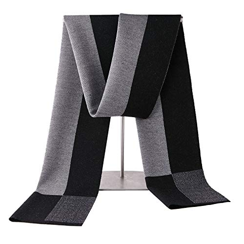 Taylormia Men's Winter Cashmere Scarf - Warm Soft Gentleman Knit Scarves Black Grey by Taylormia (Image #2)