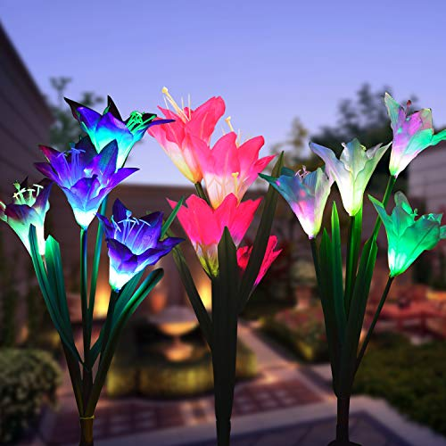 Outdoor Solar Garden Stake Lights,3 Pack Solar Powered Lights with 12 Lily Flower, Multi-Color Changing LED Solar Landscape Lighting Light for Garden, Patio (Outdoor Solar Garden Stake Lights-3)