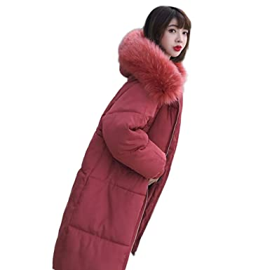 80cc8a790 Clearance! Women Outerwear Puffer Coat Long Cotton-padded Down Jackets  Pocket Faux Fur Hooded