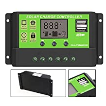 ALLPOWERS Intelligent Home 20A 12V/24V LCD Display Solar Charge Controller with USB Port