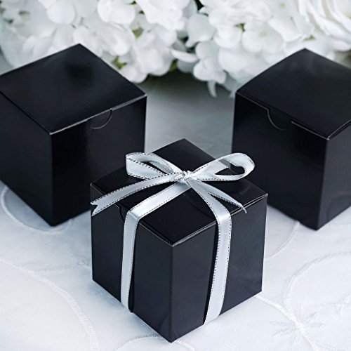 Efavormart 100 pcs of 3x3x3 Black Favor Box for Candy Treat Gift Wrap Box Party Favor Boxes for Bridal Shower Wedding Party]()