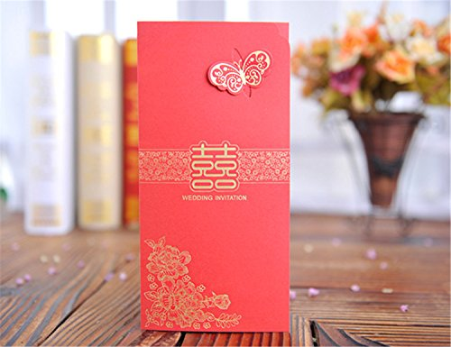 Skyseen 25Pcs Chinese Red Traditional Style Laser Cutting Invitation Cards Wedding Party Invitation Card