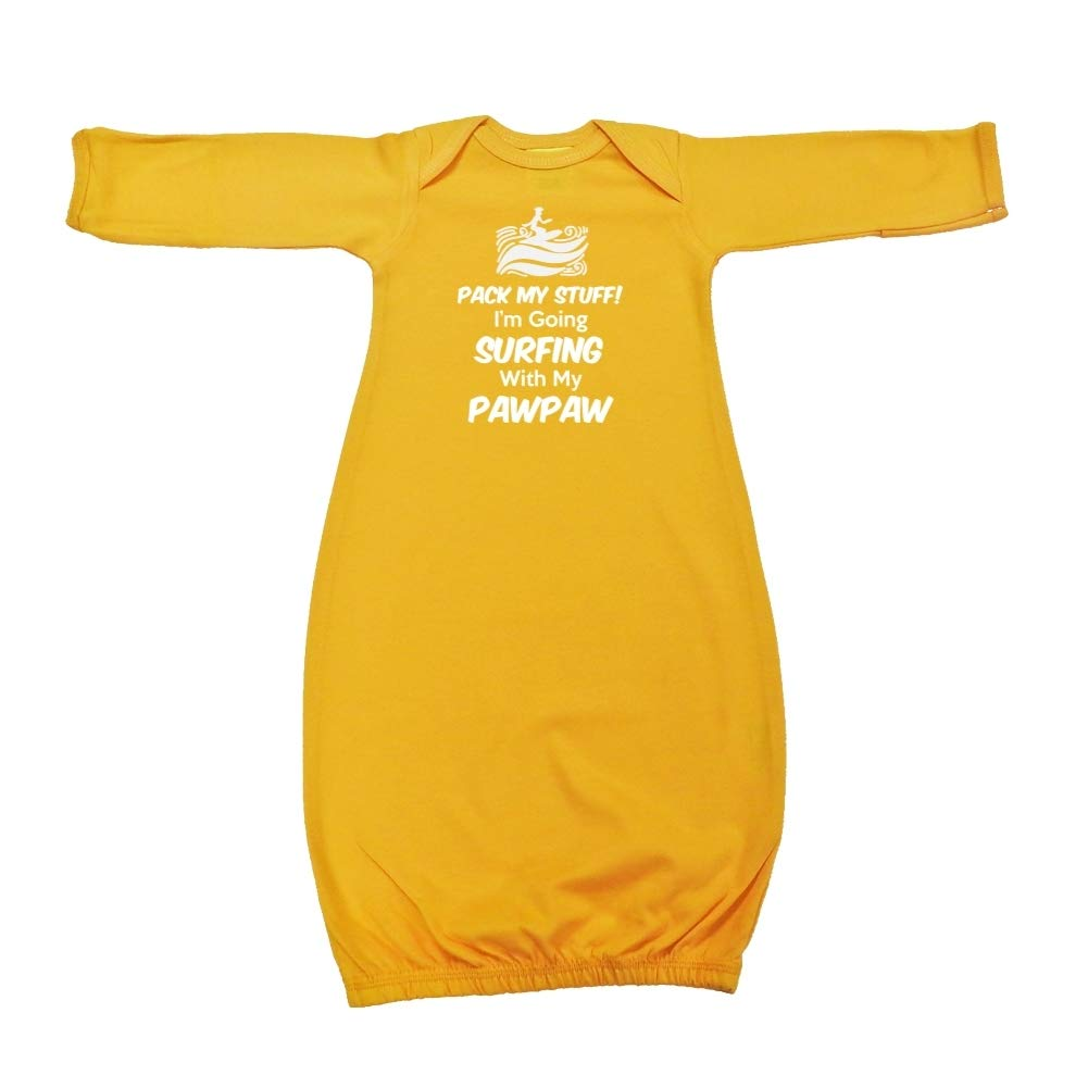 Baby Cotton Sleeper Gown Im Going Surfing with My Pawpaw Pack My Stuff