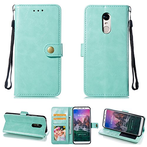 Xiaomi Redmi 5 Plus Wallet Case, Lifeepro [New] [Card Slots] [Photo & Wallet Pocket] Multi-Function Premium PU Leather Magnetic Flip Shockproof Wallet Cover for Xiaomi Redmi 5 Plus - Mint Green