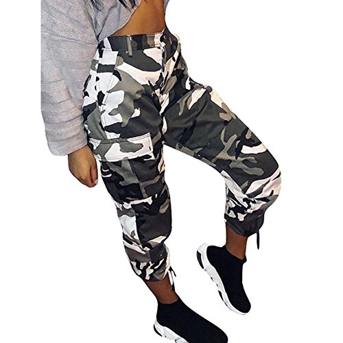 UONQD Womens Camouflage Pants Camo Cargo Joggers Hip Hop Rock Trousers(Large,White) -