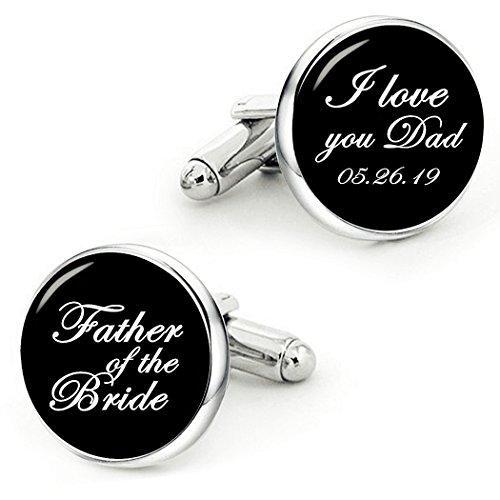 Kooer Father of The Bride Cufflinks I Love You Dad Handmade Custom Wedding Personalized Cuff Links (Style 1) (style 1) by Kooer