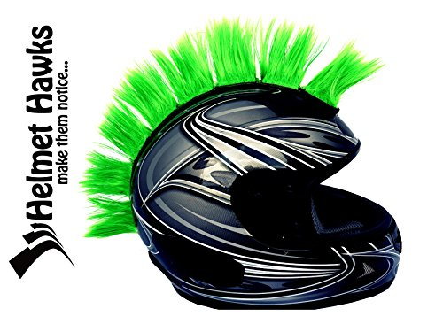 Helmet Hawks Motorcycle  Snowboard Helmet Mohawk W  Sticky Velcro Adhesive  8  Hair Patches 2  Long X 3  Tall   Fluorescent Lime Green
