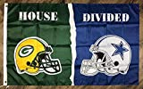 Lovely999 Green Bay Packers vs Dallas Cowboys House Divided Flag 3x5 feet Sports Banner New