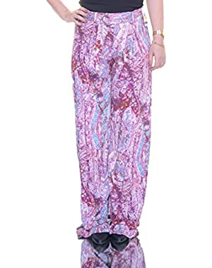 Jessica Simpson Womens Abstract Flowy Casual Pants Pink 2XS