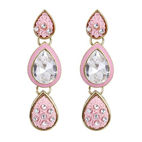 Fasherati Dazzling Pink Enamel with White Crystal Necklace Set For Women