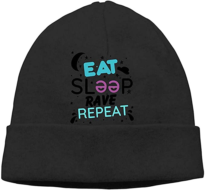 Eat Sleep Rave Repeat Cable Knit Skull Caps Gorros Gruesos Suaves ...