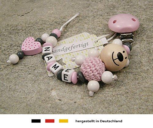 Baby SCHNULLERKETTE mit NAMEN Schnullerhalter mit Wunschnamen M/ädchen Motiv B/är und Herz in rosa