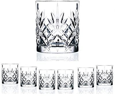 Set Of 6 High Quality Double Old Fashioned Crystal Glassware Set, Perfect for serving scotch, whiskey or mixed drinks (Set of 6 - 9 Oz DOF Glasses)
